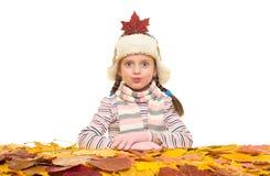 Fille avec des feuilles d'automne sur le blanc Images stock