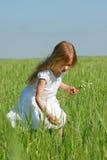 Fille avec des fleurs à l'extérieur photographie stock libre de droits