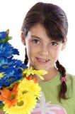 Fille avec des fleurs Photos stock