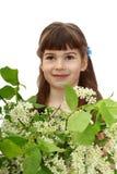 Fille avec des fleurs Image stock