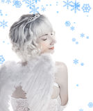 Fille avec des flocons de neige Photo stock