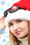 Fille avec des flocons de neige Photos libres de droits