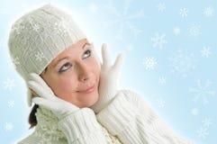 Fille avec des flocons de neige Photographie stock