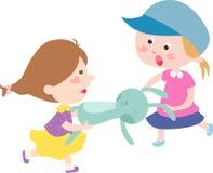 Fille avec des jouets illustration de vecteur