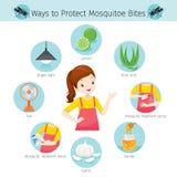 Fille avec des manières de protéger des icônes de morsure de moustiques réglées illustration stock