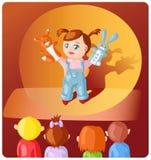 Fille avec des marionnettes de main Photos stock
