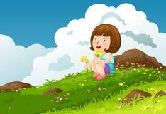 Fille avec des montagnes de fleurs illustration de vecteur