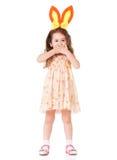 Fille avec des oreilles de lapin Photographie stock libre de droits