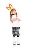 Fille avec des oreilles de lapin Photos libres de droits