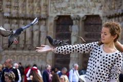 Fille avec des pigeons Photographie stock