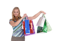 Fille avec des sacs en papier Photo stock