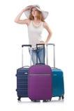 Fille avec des valises Photos libres de droits