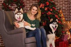 Fille avec deux chiens d'arbre de Noël proche enroué Photo libre de droits