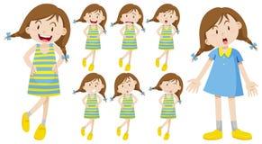 Fille avec différentes émotions Photos libres de droits