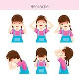 Fille avec différentes actions de mal de tête Image libre de droits