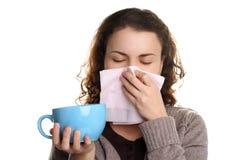 Fille avec l'écoulement nasal Photos stock