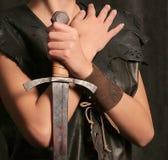Fille avec l'épée Images libres de droits