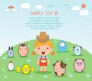 Fille avec l'animal de ferme, fille de village avec des animaux de ferme, illustration des enfants et des animaux de ferme, des a illustration de vecteur