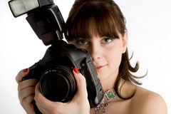 Fille avec l'appareil-photo Photo stock