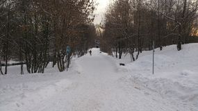 fille avec l'hiver de peinture de chevalet à Moscou Images stock
