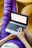 Fille avec l'ordinateur portable Image libre de droits