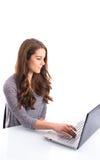 Fille avec l'ordinateur portable Photos libres de droits