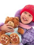 Fille avec l'ours de nounours Photographie stock