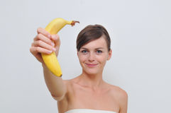 Fille avec la banane. Photo stock