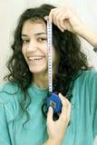 Fille avec la bande de mesure Photographie stock libre de droits