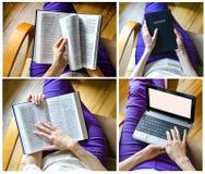 Fille avec la bible et l'ordinateur portable Image stock