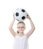 Fille avec la bille de football Photographie stock libre de droits