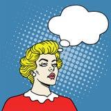 Fille avec la bulle de pensées dans le bruit Art Comics Style Illustration d'art de bruit illustration libre de droits