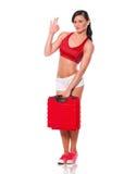 Fille avec la caisse rouge Image libre de droits