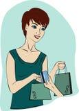 Fille avec la carte de crédit Illustration Stock