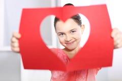 Fille avec la carte de Valentine Images libres de droits