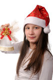 Fille avec la cloche de Noël Photo stock