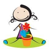 Fille avec la fleur Photo libre de droits