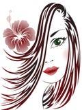 Fille avec la fleur dans son cheveu Photographie stock libre de droits