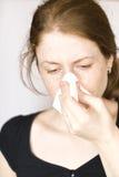 Fille avec la grippe Photographie stock libre de droits
