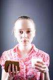 Fille avec la nourriture Image libre de droits