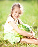 Fille avec la pastèque Photo libre de droits