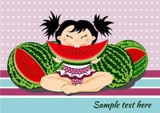 Fille avec la pastèque Photographie stock libre de droits