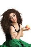 Fille avec la pomme à disposition Image libre de droits