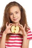 Fille avec la pomme Photos stock