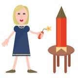 Fille avec la pyrotechnie illustration de vecteur
