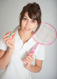 Fille avec la raquette de badminton Photo stock