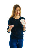 Fille avec la tasse de café vide Photo libre de droits