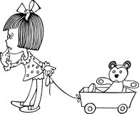 Fille avec la voiture d'enfant Photos libres de droits