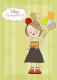 Fille avec le ballon, carte de voeux d'anniversaire Photo stock