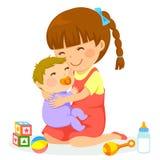 Fille avec le bébé Photos stock